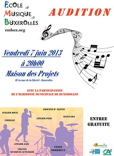 Affiche de l'audition du 7 juin 2013 des élèves de l'école de musique de Buxerolles