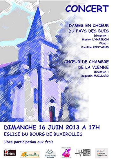 Affiche du concert de juin 2013 de la chorale Dames en choeur du pays des buis