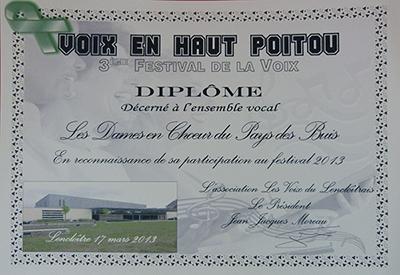 """Diplôme du festival """"Voix en haut-Poitou"""" remporté par la chorale des Dames en choeur du pays des buis"""
