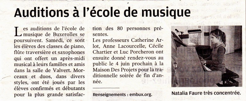 article presse audition piano