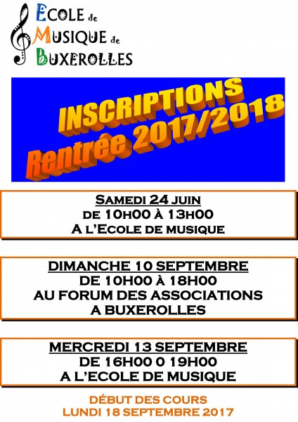 AFFICHE INSCRIPTIONS 2017 2018